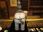 A pair of cloisonné enameled elephants and vases, taiping you xiang 19th century
