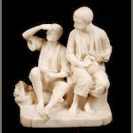 A Continental carved alabaster figural group