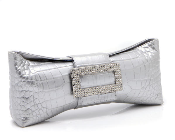 A Roger Vivier silver leather and rhinestone buckled clutch