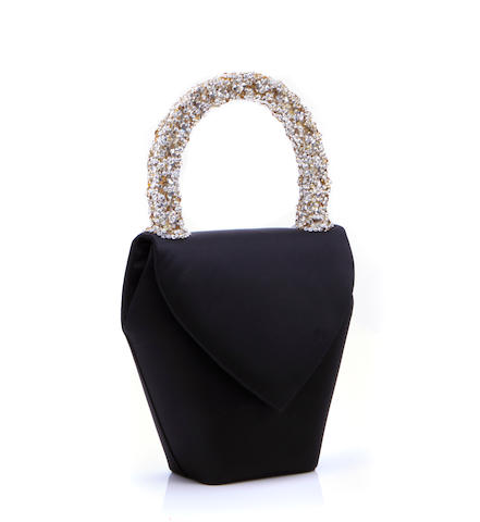A Daniel Swarovski black peau de soie and crystal evening bag