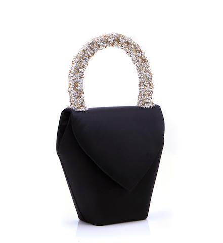 A Daniel Swarovsky black peau de soie and crystal rhinestone decorated evening bag
