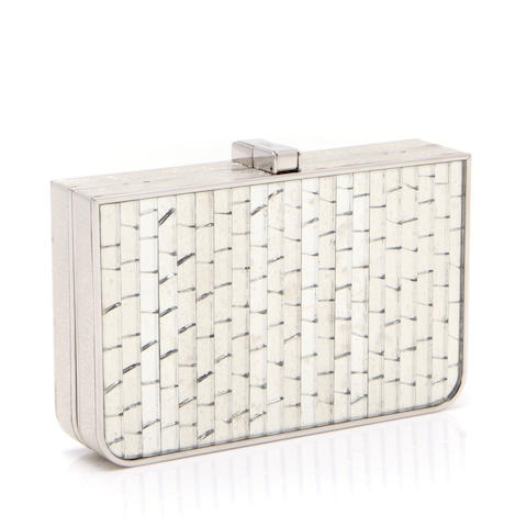 A Salvatore Ferragamo silver metal and mirrored clutch