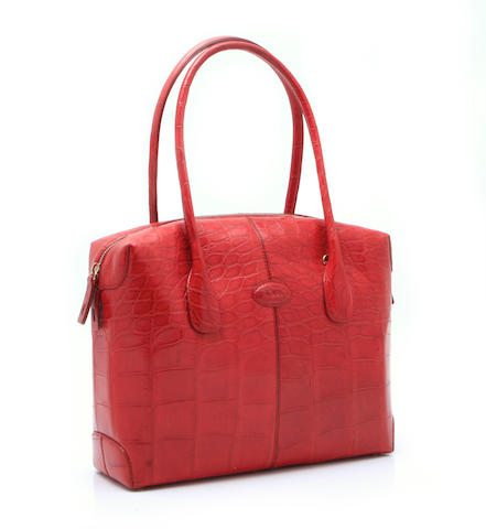 A Tod's red crocodile handbag