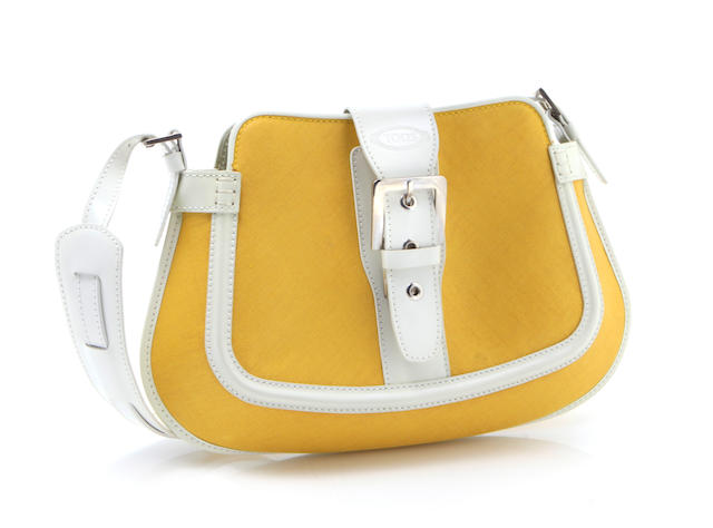 A Tod's yellow linen and white leather handbag