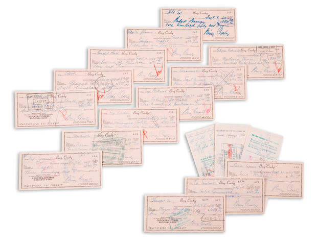 A large group of Bing Crosby signed checks