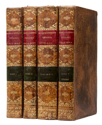 ESTIENNE, HENRI. 1528?-1598. Thesaurus Graecae linguae. [Geneva]: Henri Estienne, 1572.