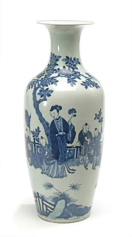 A Chinese blue and white porcelain vase with beauties in a garden