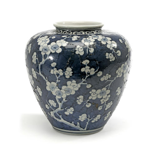 A Chinese blue and white jar with cracked ice and prunis decoration late Qing dynasty