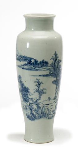 A Chinese blue and white porcelain ovoid vase (crack) Kangxi period