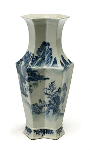 An unusual Chinese blue and white porcelain landscape decorated vase with calligraphy 19th century