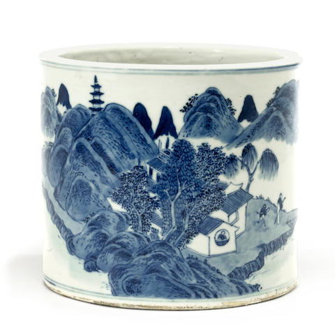 A blue and white porcelain brushpot, bitong 19th century