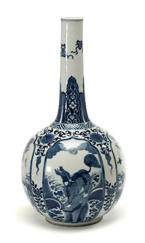 A Chinese blue and white porcelain stickneck vase with animal and ritual vessel reserves Kangxi period