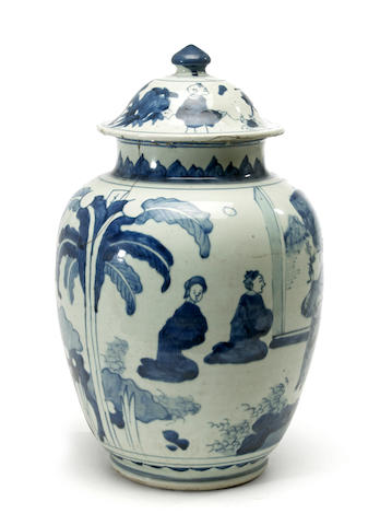 A blue and white porcelain jar and cover Transitional period