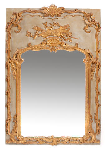 A Louis XV style parcel gilt paint decorated boiserie mirror