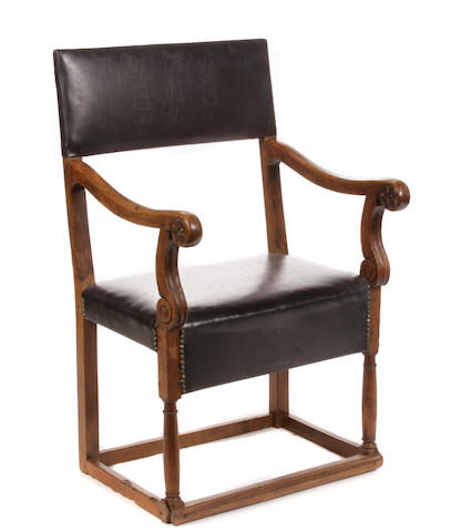 A Continental Baroque walnut armchair