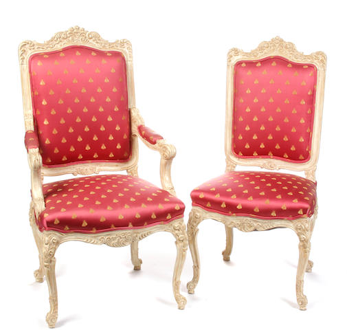 A set of ten Louis XV style paint decorated dining chairs