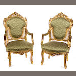 A Louis XV style giltwood salon suite