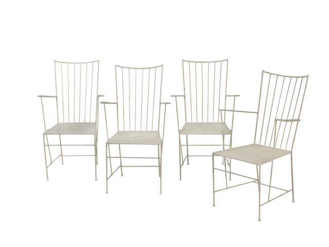 Thomas Lauterbach for Karl Fostel Sen.'s Erben A Set of Four Sonett Chairs  circa 1955  painted and perforated steel  Height: 35 13/16 in.                91 cm.
