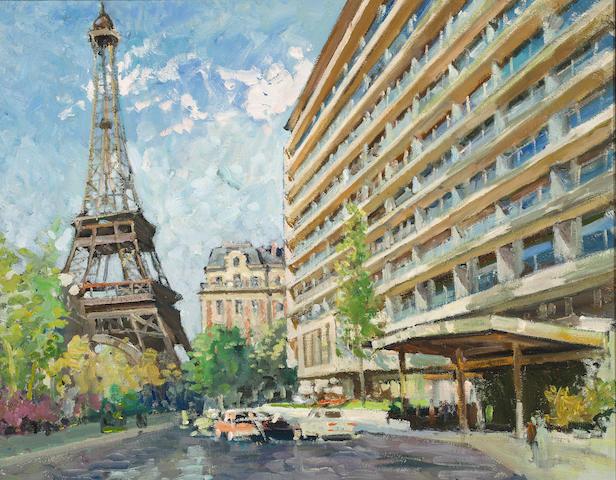 Constantine  Kluge (1912-2003) Bateaux bord de la Seine 28 3/4 x 39 3/8in. (73 x 100cm)