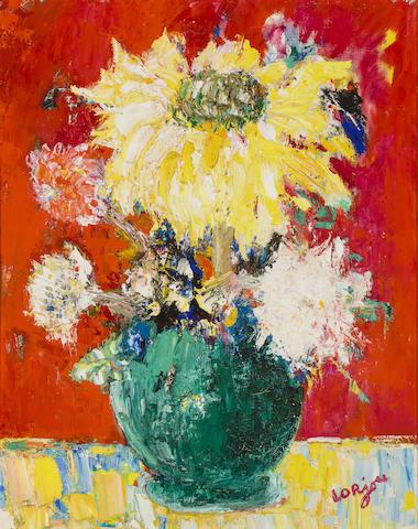 Bernard Lorjou (1908-1986) Bouquet de fleurs 32 x 25in. (81 x 63.5cm)