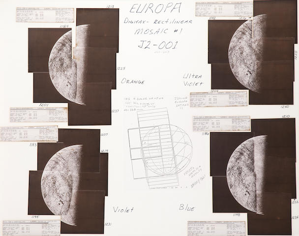 VOYAGER II. Group of 4 hand mosaics of Europa, around July 9, 1979,