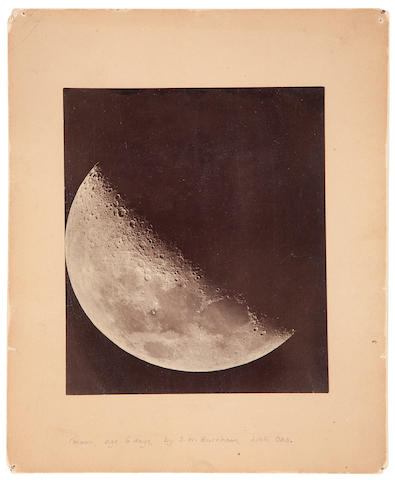 "BURNHAM, S.W. Two photographs taken through the Lick Telescope, San Jose, CA, comprising: first photograph of the Moon (at 5 days) taken through the Telescope, gelatin silver print (155 x 125 mm) mounted, printed by Roberts & Fellows ""on Anthonys' Aristotype Paper,"" (CHECK),"