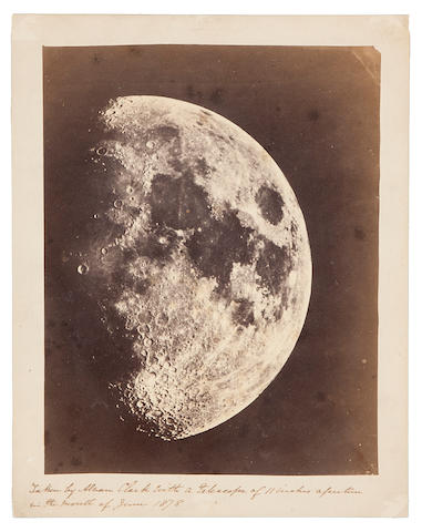 CLARK, ALVAN. 1804-1887. A view of the Moon, perhaps from Cincinnati Observatory, June, 1878,