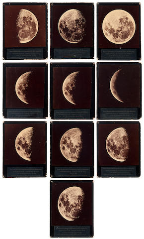 RUTHERFORD, LEWIS MORRIS. 1816-1892. Group of 9 cabinet photographs of the Moon at different phases, albumen prints (130 x 125 mm) mounted on black cards with paste-on printed captions below,  photographed at XXX between March 6, 1865 and May 19, 1874, printed later WHEN??? by O.G. Mason of New York.