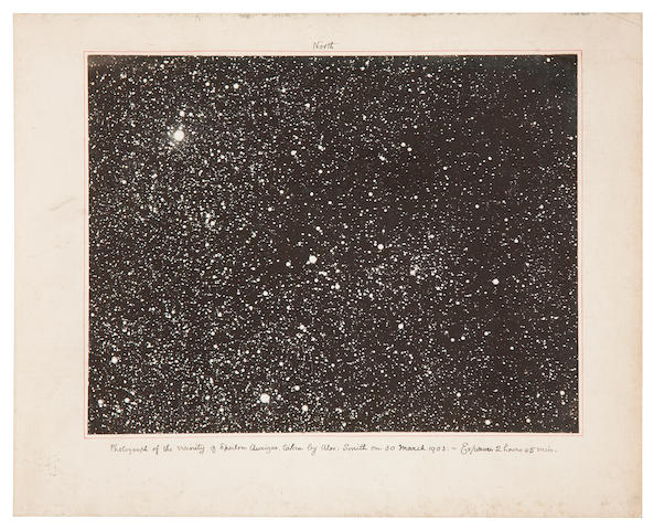 SMITH, ALEXANDER. 3 photographs of deep space, gelatin silver prints (150 x 200 mm) mounted,  captioned below in ink, March 30 to November 15, 1903,