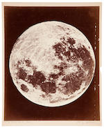 RUTHERFORD, LEWIS MORRIS. 1816-1892. 3 photographs of the Moon, albumen prints (325 x 245 mm) mounted,  pencil captions below by the printer Alfred Brothers of Manchester, c.1870.