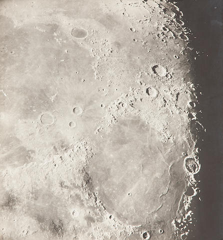 YERKES OBSERVATORY. Group of 5 details of the lunar surface, platinum prints (185 x 200 mm and slightly smaller) mounted,  together with gelatin silver print of ¾ of the Moon (200 x 250 mm) mounted,
