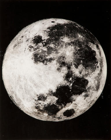 Pease, Francis 2 large gelatin silver prints mounted, whole Moon and half of