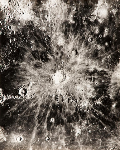 PEASE, FRANCIS GLADHEIM. 1881–1938. 3 large views, comprising the crater Copernicus, and two the southwest part of the Moon centered on the Mare Nubium, from Mount Wilson Observatory, near Pasadena, CA, September 15, 1919,
