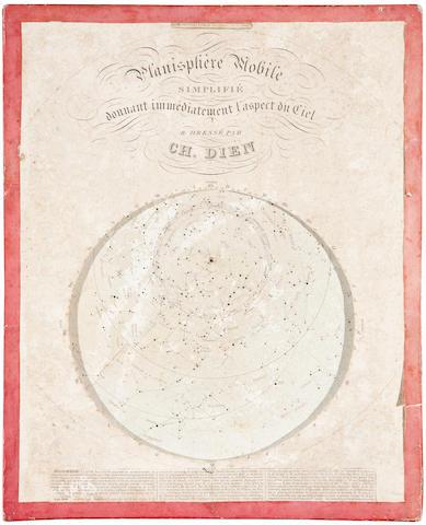 DIEN, CHARLES. 1809-1870. Planisphère mobile simplifié, donnant immédiatement l'aspect du Ciel. Paris: Alphonse Giroux, [c.1844].