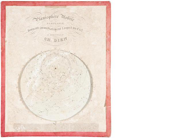 DIEN, CHARLES.  Planisphère mobile simplifié, donnant immédiatement l'aspect du Ciel. Paris: Alphonse Giroux, n.d.