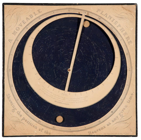 "WHITALL, HENRY.  ""A Moveable Planisphere Showing the Position of the Heavens at any given time."" Philadelphia: Henry Whitall, 1856."
