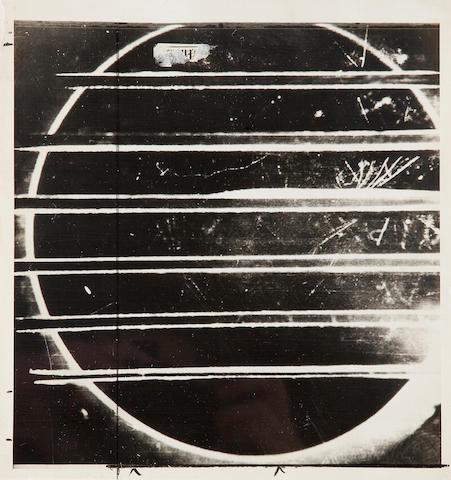 COSMIC RAYS.  Gelatin silver print recording cosmic rays (205 x 195 mm),