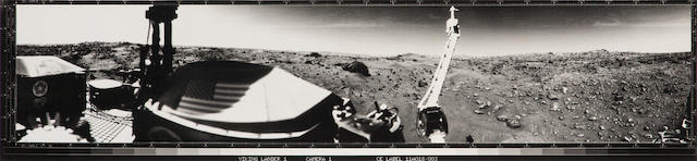 Viking lander Panorama of Martian surface, craft and flag decal visible