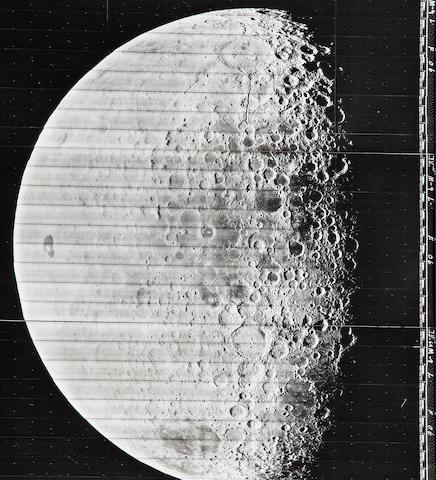 LUNAR ORBITER IV M9. 3 gelatin silver prints of...,