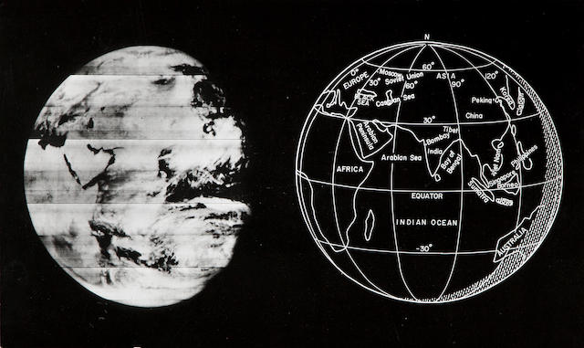 LUNAR ORBITER KODAK LO V H EARTH. Gelatin silver print of the Earth from the vicinity of the Moon with a sketch of the earth that appears in the photograph,