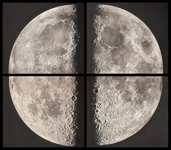 PUISEUX, PIERRE HENRI, AND MAURICE LOEWY. 4 large-format quadrants of the Moon, from the Paris Observatory, 1899,