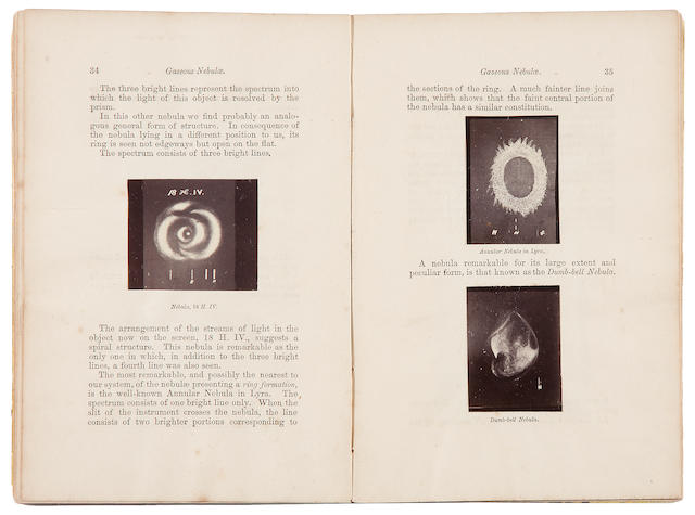 HUGGINS, WILLIAM. 1824-1910. On the Results of Spectrum Analysis Applied to the Heavenly Bodies. A Discourse Delivered at Nottingham, before the British Association, August 24, 1866. London: W. Ladd, [1866].