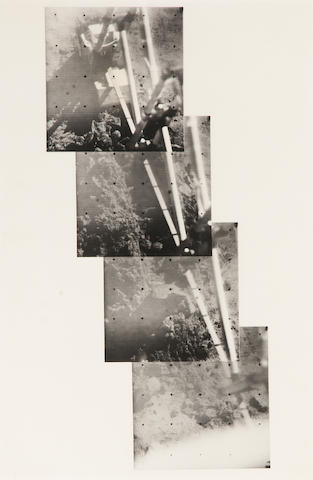 SURVEYOR III. 4 gelatin silver prints of a hand mosaic of Soil Mechanics Surface Sampler (SMSS),