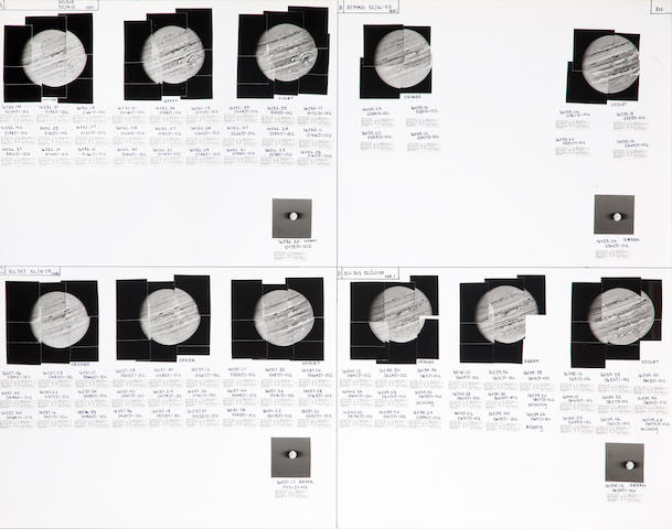 VOYAGER I. 11 hand mosaics of Jupiter together on one sheet, January-April, 1979,