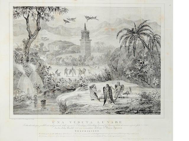 GREAT MOON HOAX. [LOCKE, RICHARD ADAMS.] Pubblicazione completa delle nuove scoperte di Sir John Herschel nel cielo australe e nella luna; traduzione dal francese. Milan: Lorenzo Sonzogno, 1836.