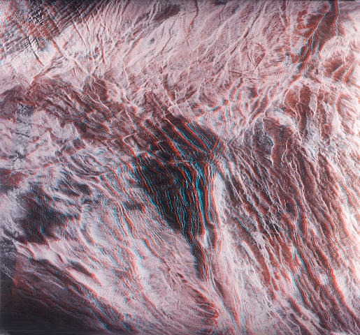 MAGELLAN. Large anaglyph (stereoscopic) view of  the northwestern flank of Maxwell Montes, September 15, 1990-September 13, 1992,