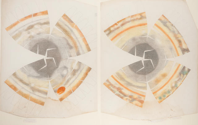 TURNER, RALPH. B.1935. Turner's original drawings for his fold-up model of Jupiter, probably Tucson, AZ, around June 1, 1971,