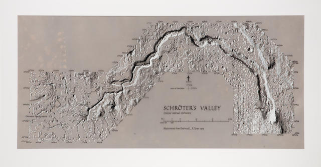TURNER, RALPH. B.1935. Shaded contour diagram of Schröter's Valley, probably Tucson, AZ, 1974,