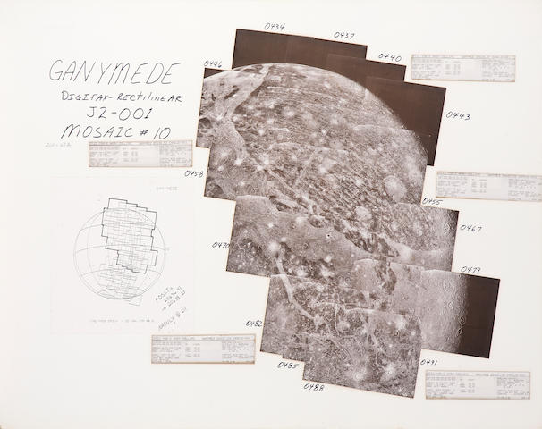 VOYAGER II. Hand mosaic of a limb of Ganymede, around July 9, 1979,