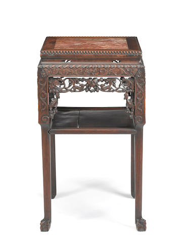 A marble topped hardwood flower stand Republic period (small missing piece)